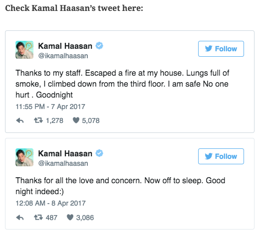 Kamal Haasan Escapes From Fire Accident at Chennai Home No One Injured