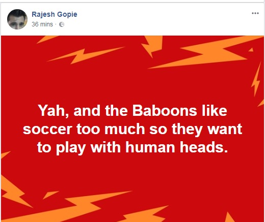 Rajesh Gopie social media posts
