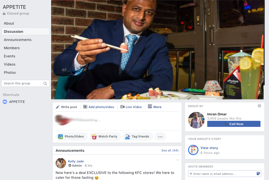 Imran Omar and the Appetite Group which Indian Spice is blocked from viewing along with 15 thousand other users. Go figure!
