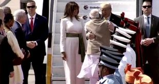 Donald Trump and Ivanka Trump were welcomed by Prime Minister Narendra Modi at the Ahmedabad airport. After a quick handshake and a hug, Modi introduced the Trumps to the welcoming party at the airport. A tri-services guard is also present at the airport to honour the US President